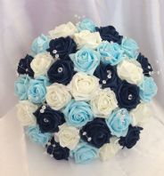 ARTIFICIAL FLOWERS NAVY BLUE/IVORY/LIGHT BLUE FOAM ROSE BRIDES WEDDING BOUQUET